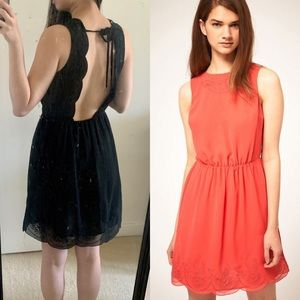 asos embroidered skater dress with scalloped back
